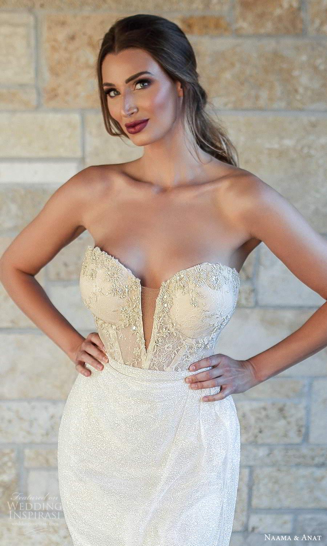 naama and anat fall 2021 bridalstraplress sweetheart neckline fully embellished sheath column wedding dress chapel train sheer back champagne (7) zv