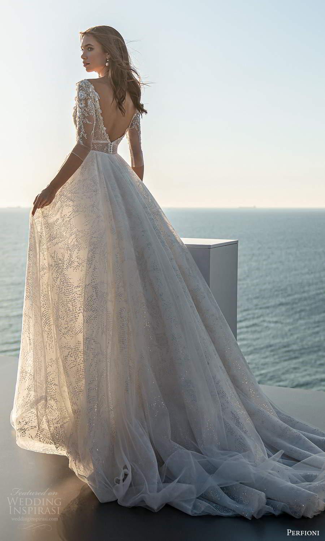 perfioni 2021 bridal 3 quarter sleeves plunging v neckline fully embellished a line ball gown wedding dress chapel train v back (17) bv