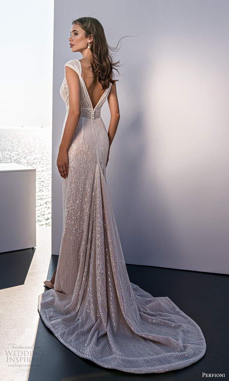 perfioni 2021 bridal cap sleeves plunging v neckline fully embellished glitzy sheath wedding dress slit skirt chapel train (15) bv