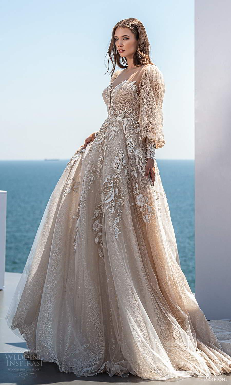 perfioni 2021 bridal long bishop sleeves sweetheart neckline fully embellished a line ball gown wedding dress chapel train (20) mv