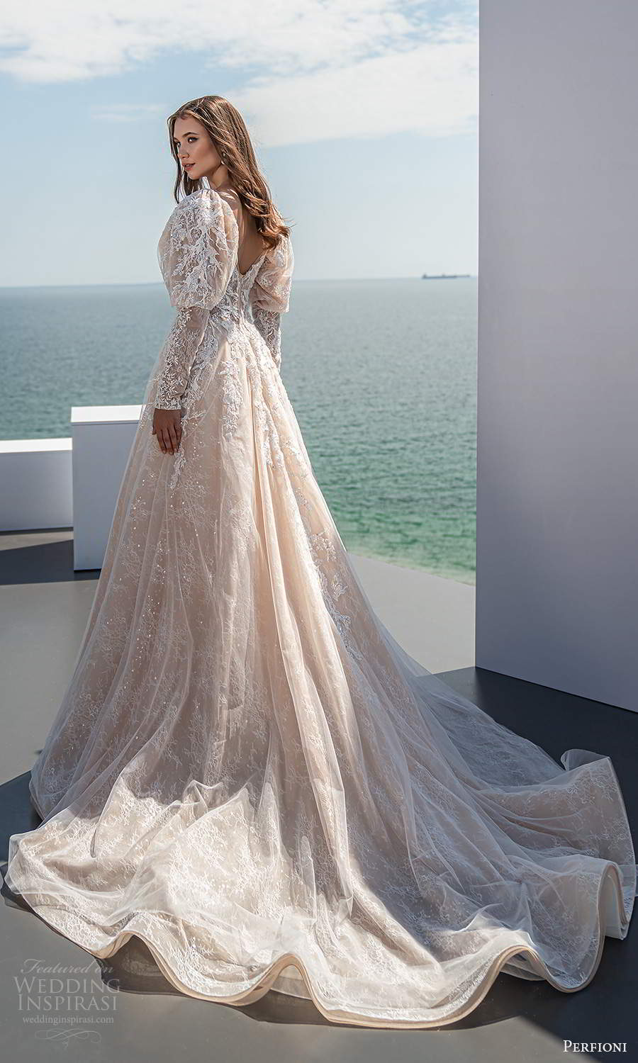 perfioni 2021 bridal long puff sleeve sweetheart neckline fully embellished a line ball gown wedding dress chapel train blush (11) bv