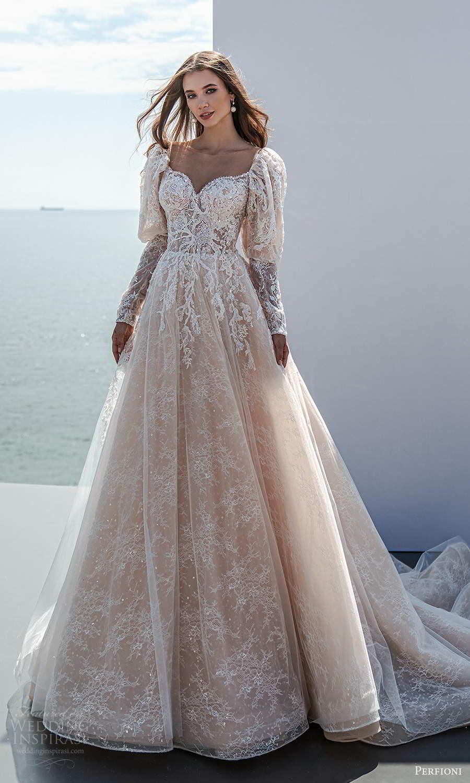 perfioni 2021 bridal long puff sleeve sweetheart neckline fully embellished a line ball gown wedding dress chapel train blush (11) mv