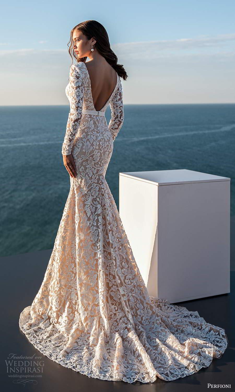 perfioni 2021 bridal long sleeve bateau neckline fully embellished fit flare mermaid sheath wedding dress chapel train v back (22) mv
