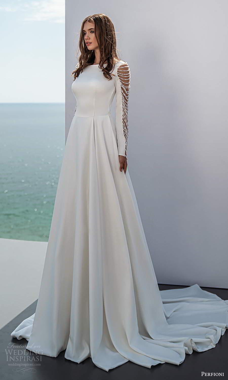perfioni 2021 bridal long sleeves bateau neckline clean minimalist a line ball gown wedding dress chapel train (24) mv