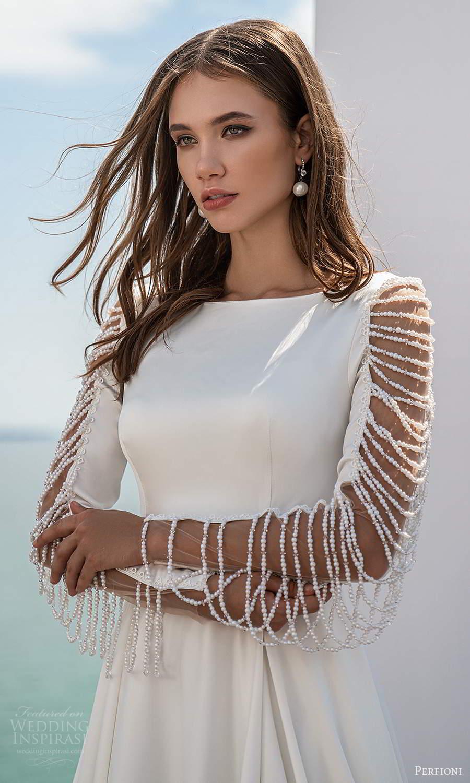 perfioni 2021 bridal long sleeves bateau neckline clean minimalist a line ball gown wedding dress chapel train (24) zv