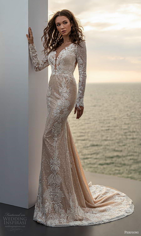 perfioni 2021 bridal long sleeves plunging v neckline fully embellished sheath wedding dress chapel train (25) mv