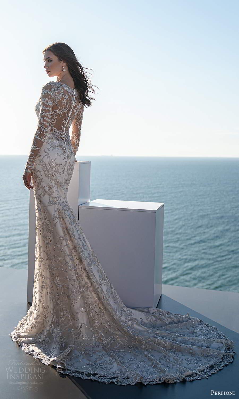 perfioni 2021 bridal sheer long sleeves bateau neckline fully embellished glitzy fit flare mermaid wedding dress sheer back chapel train (26) mv