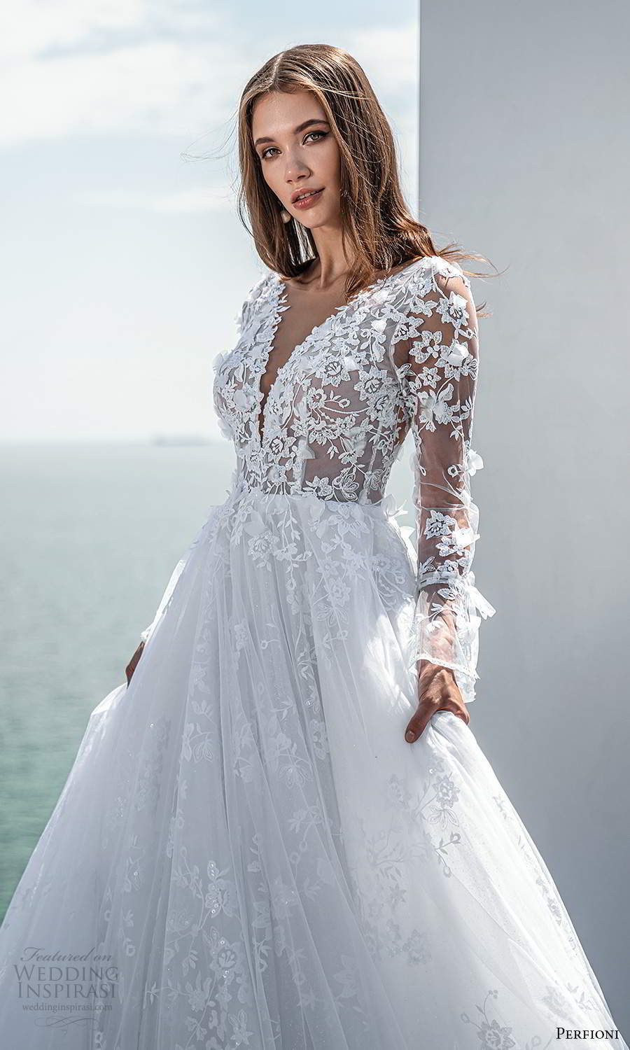 perfioni 2021 bridal sheer long sleeves plunging v neckline fully embellished lace a line ball gown wedding dress v back chapel train (9) mv