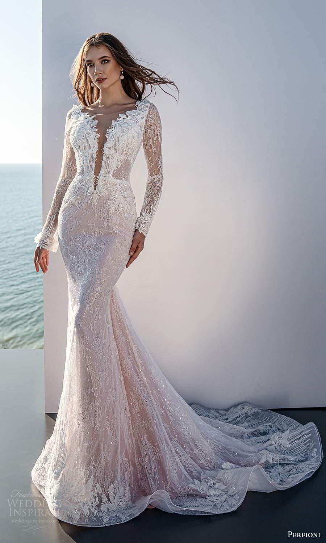 perfioni 2021 bridal sheer long sleeves plunging v neckline fully embellished sheath blush pink wedding dress chapel train (8) mv