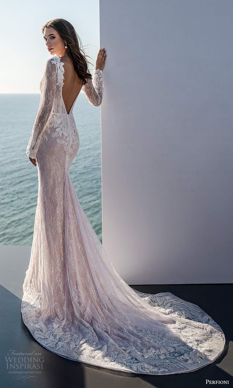 perfioni 2021 bridal sheer long sleeves plunging v neckline fully embellished sheath blush pink wedding dress chapel train v back (8) bv