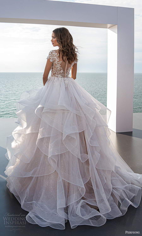perfioni 2021 bridal short sleeves illusion bateau neckline embellished bodice a line ball gown wedding dress ruffle skirt chapel train (26) mv