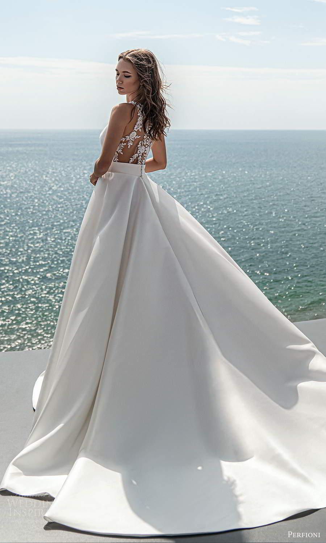 perfioni 2021 bridal sleeveless split jewel neckline clean minimalist a line ball gown wedding dress chapel train (18) bv