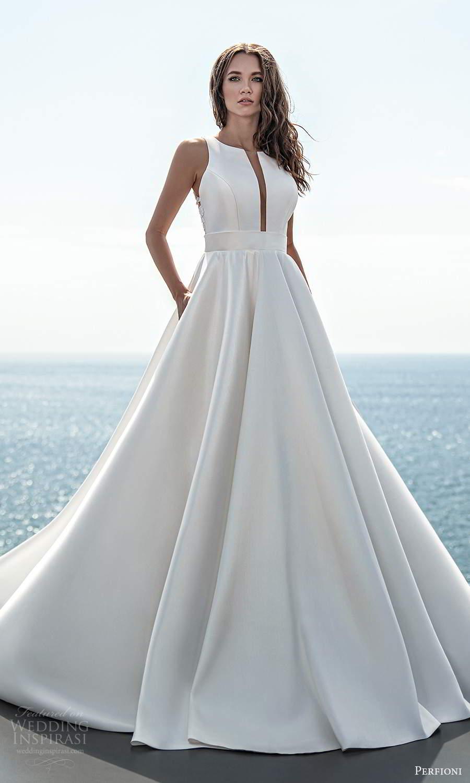perfioni 2021 bridal sleeveless split jewel neckline clean minimalist a line ball gown wedding dress chapel train (18) mv