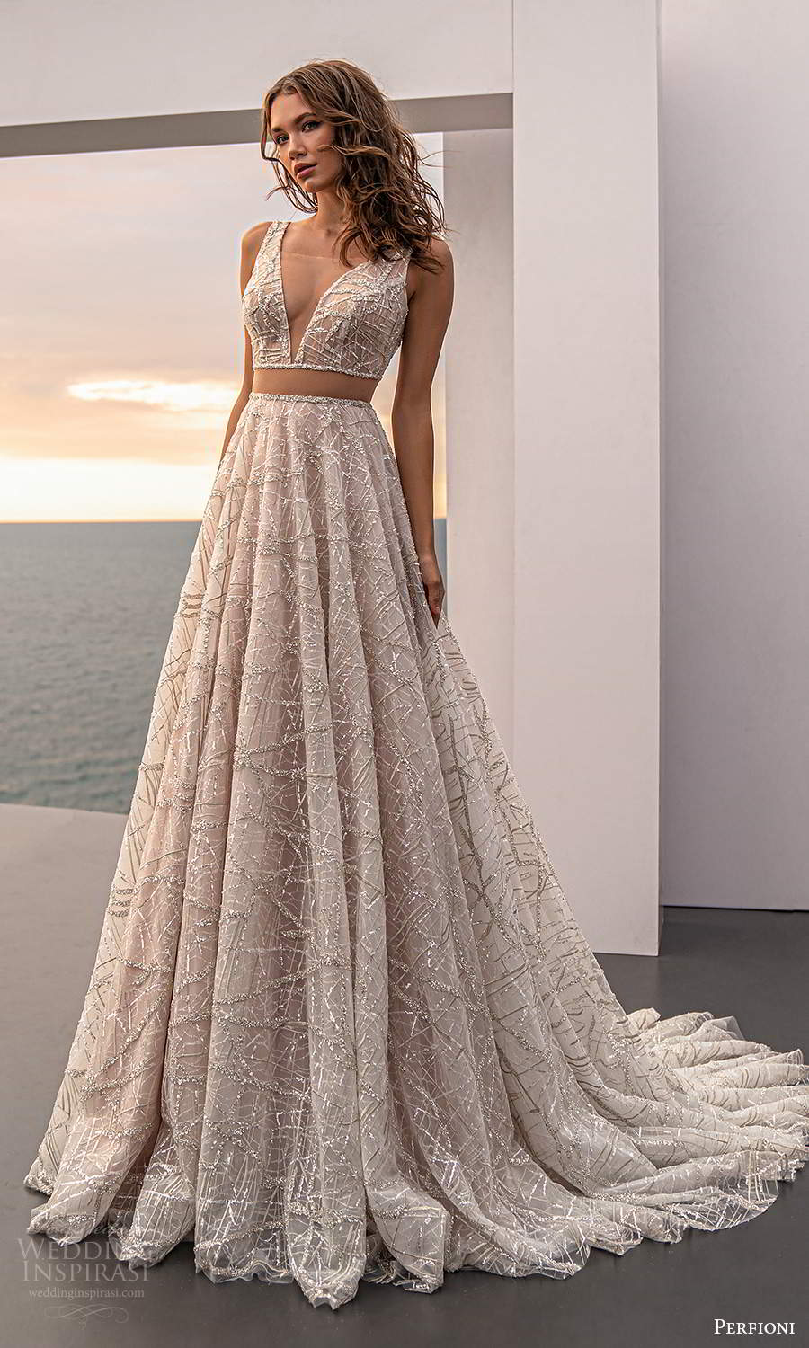 perfioni 2021 bridal sleeveless straps plunging v neckline fully embellished a line ball gown wedding dress chapel train (5) mv