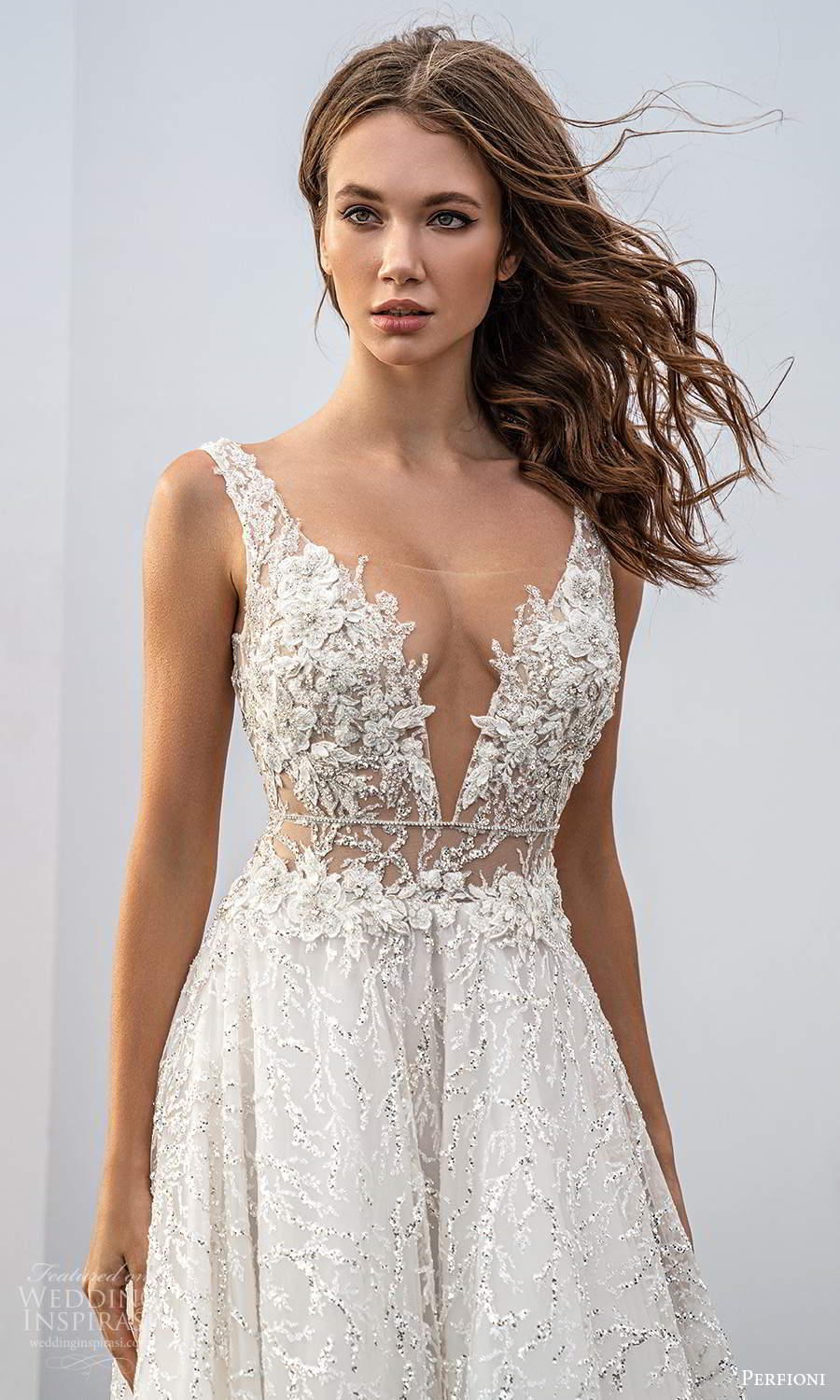 perfioni 2021 bridal sleeveless straps plunging v neckline fully embellished a line ball gown wedding dress chapel train (6) zv