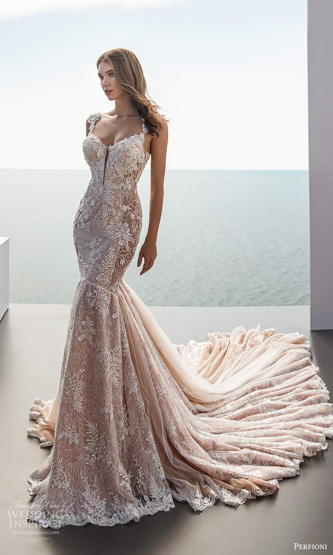 perfioni 2021 bridal sleeveless straps semi sweetheart neckline fully embellished fit flare mermaid wedding dress cathedral train (2) mv