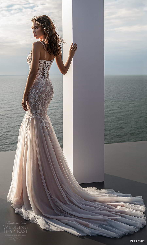 perfioni 2021 bridal sleeveless straps semi sweetheart neckline heavily embellished fit flare mermaid wedding dress chapel train blush (12) bv