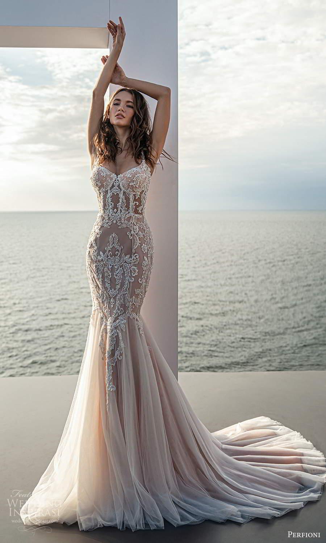 perfioni 2021 bridal sleeveless straps semi sweetheart neckline heavily embellished fit flare mermaid wedding dress chapel train blush (12) mv