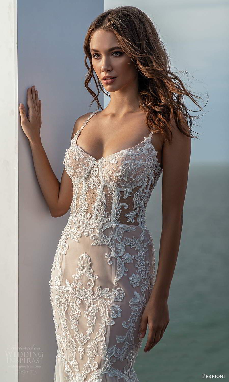 perfioni 2021 bridal sleeveless straps semi sweetheart neckline heavily embellished fit flare mermaid wedding dress chapel train blush (12) zv