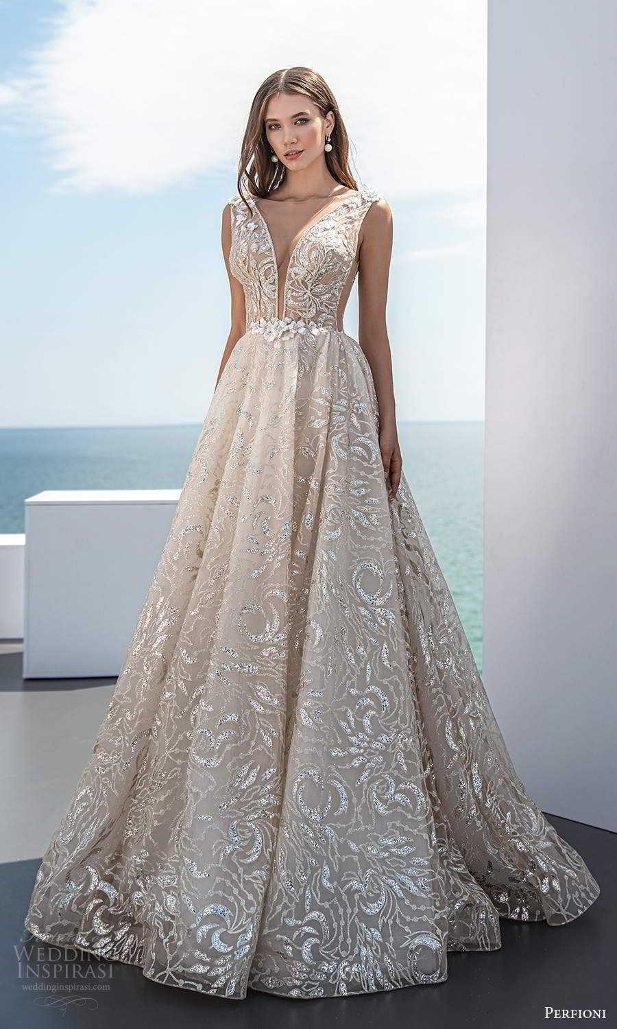 perfioni 2021 bridal sleeveless thick straps plunging v neckline fully embellished glitzy a line ball gown wedding dress chapel train champagne (19) mv
