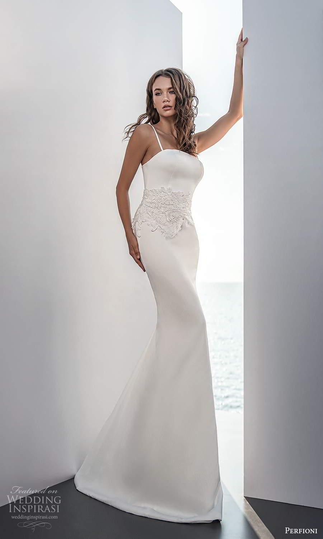 perfioni 2021 bridal sleeveless thin straps straight across neckline clean minimalist sheath wedding dress embellished waist (7) mv