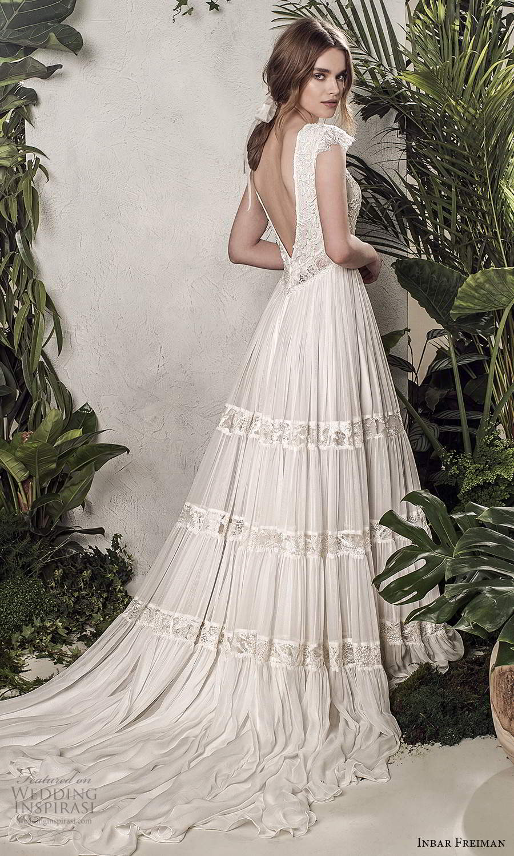 inbar freiman 2021 bridal cap sleeves bateau neckline lace bodice a line wedding dress pleated skirt scoop back chapel train (2) bv