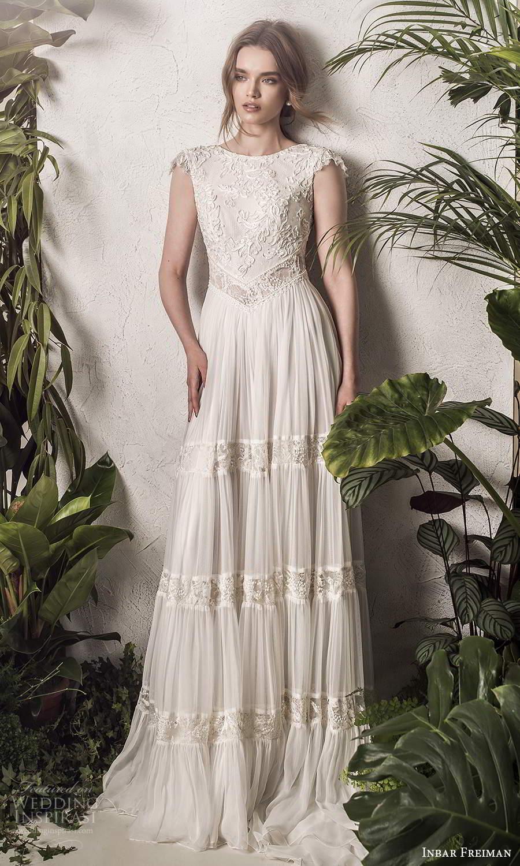 inbar freiman 2021 bridal cap sleeves bateau neckline lace bodice a line wedding dress pleated skirt scoop back chapel train (2) mv