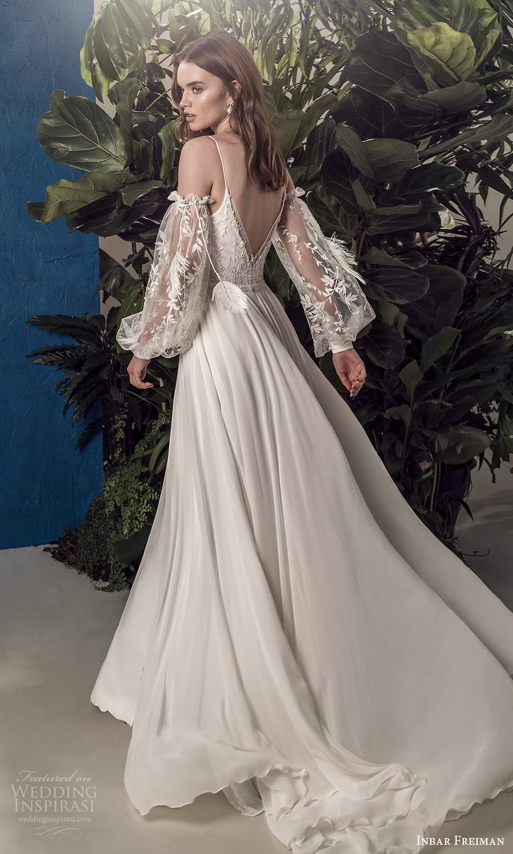 inbar freiman 2021 bridal detached sheer billowy sleeves sleeveless straps v neckline embellished bodice a line wedding dress sweep train (3) bv