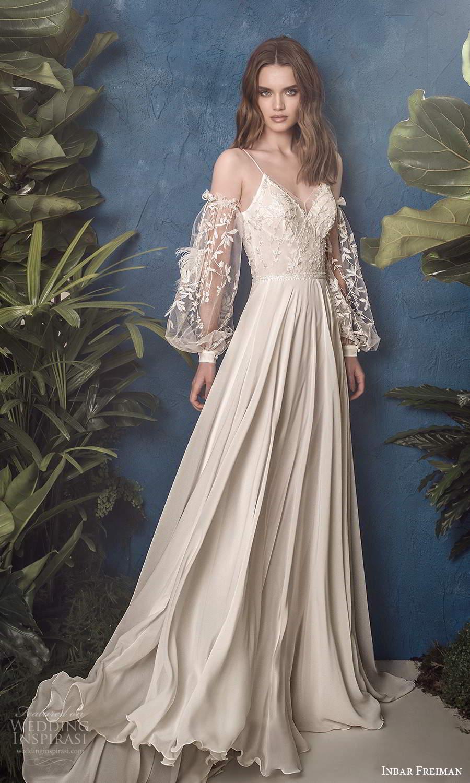 inbar freiman 2021 bridal detached sheer billowy sleeves sleeveless straps v neckline embellished bodice a line wedding dress sweep train (3) mv