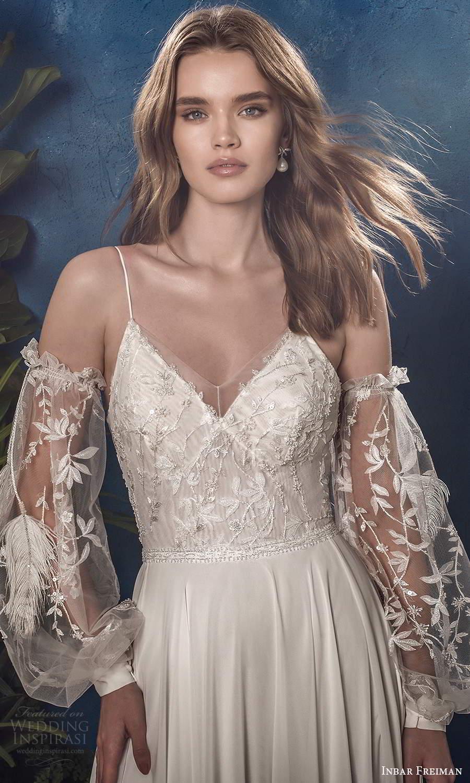 inbar freiman 2021 bridal detached sheer billowy sleeves sleeveless straps v neckline embellished bodice a line wedding dress sweep train (3) zv