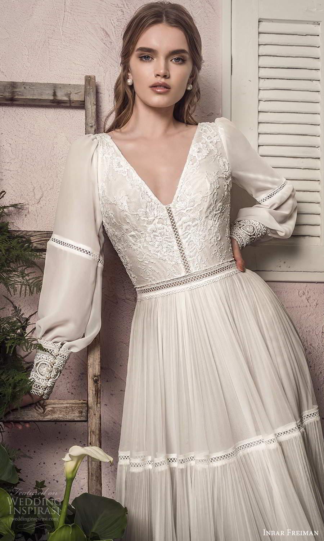 inbar freiman 2021 bridal long bishop sleeve v neckline embellished bodice boho a line wedding dress sweep train (4) fv