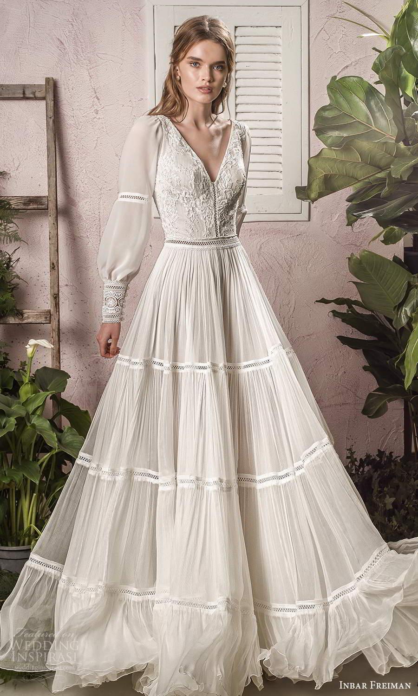 inbar freiman 2021 bridal long bishop sleeve v neckline embellished bodice boho a line wedding dress sweep train (4) mv