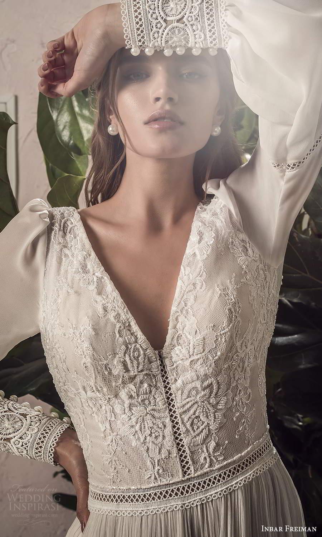 inbar freiman 2021 bridal long bishop sleeve v neckline embellished bodice boho a line wedding dress sweep train (4) zv