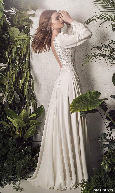 inbar freiman 2021 bridal long bishop sleeves v neckline embellished bodice boho a line wedding dress sweep train (1) bv