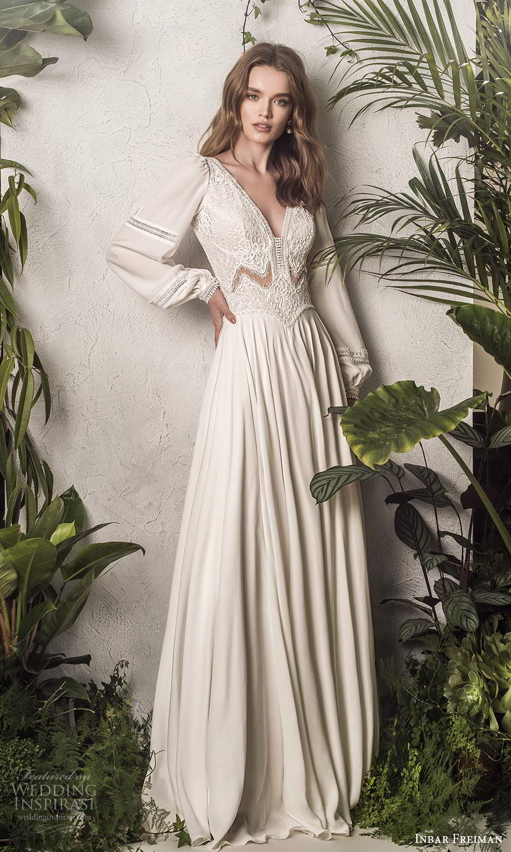 inbar freiman 2021 bridal long bishop sleeves v neckline embellished bodice boho a line wedding dress sweep train (1) mv
