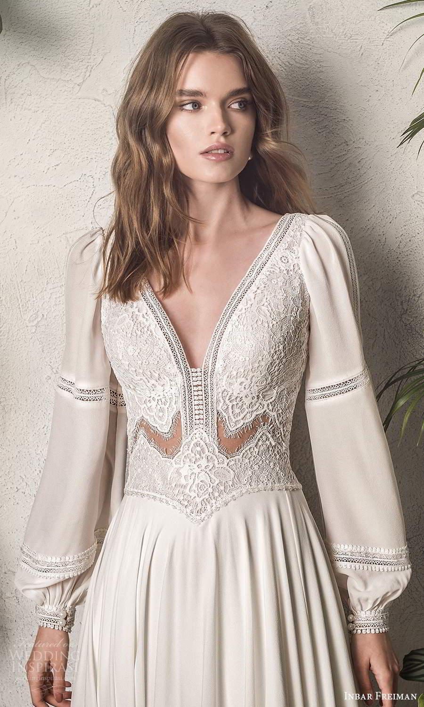 inbar freiman 2021 bridal long bishop sleeves v neckline embellished bodice boho a line wedding dress sweep train (1) zv