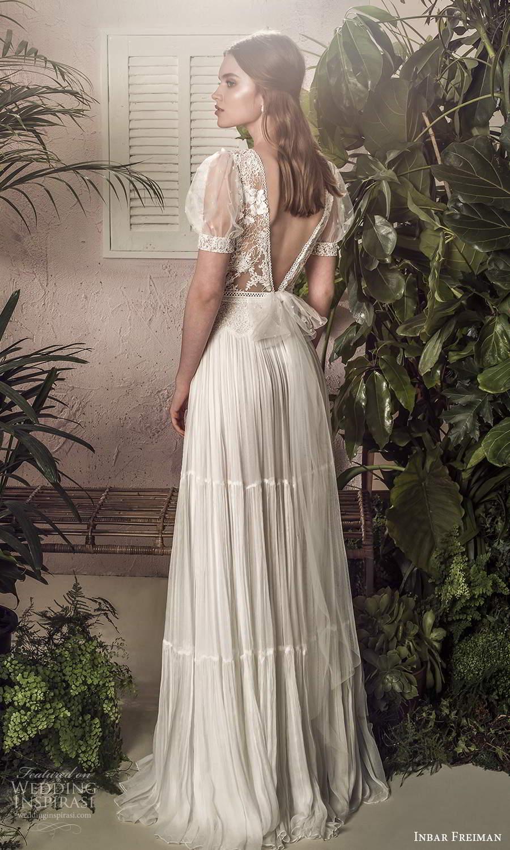 inbar freiman 2021 bridal sheer short puff sleeves v neckline embellished bodice a line wedding dress sweep train (6) bv