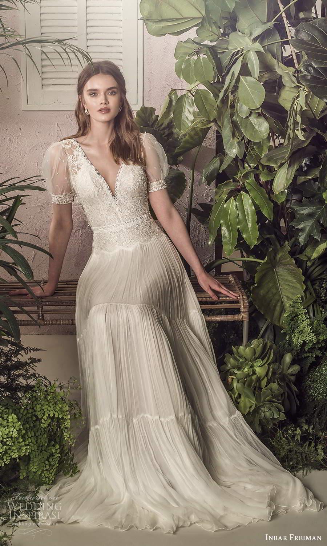 inbar freiman 2021 bridal sheer short puff sleeves v neckline embellished bodice a line wedding dress sweep train (6) fv