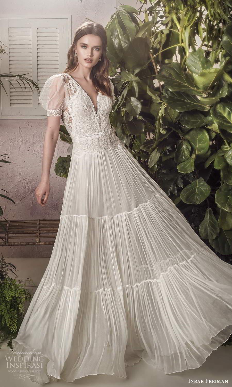 inbar freiman 2021 bridal sheer short puff sleeves v neckline embellished bodice a line wedding dress sweep train (6) mv