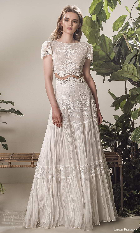 inbar freiman 2021 bridal short puff sleeve bateau neckline embellished lace bodice a line wedding dress chapel train (9) mv