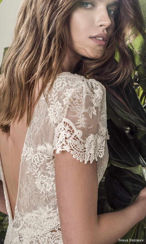 inbar freiman 2021 bridal short puff sleeve bateau neckline embellished lace bodice a line wedding dress chapel train (9) zbv