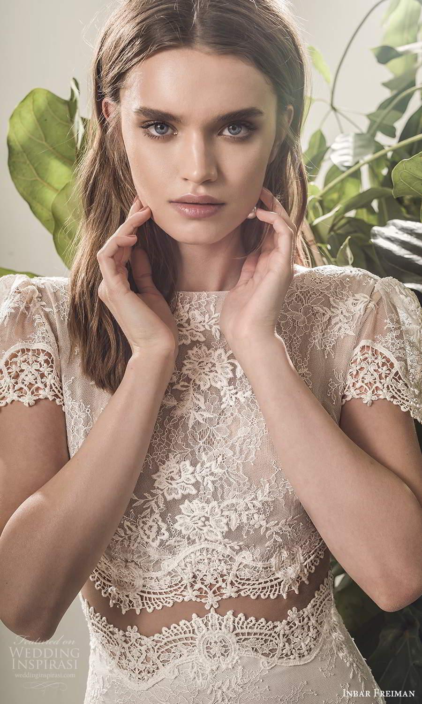inbar freiman 2021 bridal short puff sleeve bateau neckline embellished lace bodice a line wedding dress chapel train (9) zv