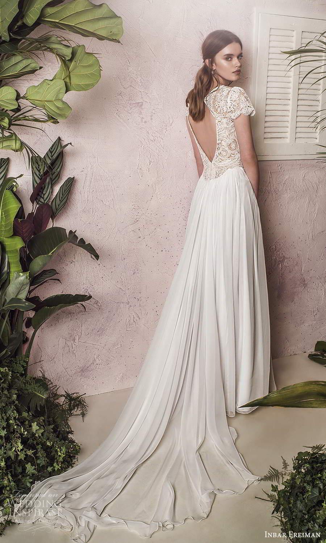 inbar freiman 2021 bridal short sleeves jewel neckline embellished lace bodice a line wedding dress chapel train (5) bv