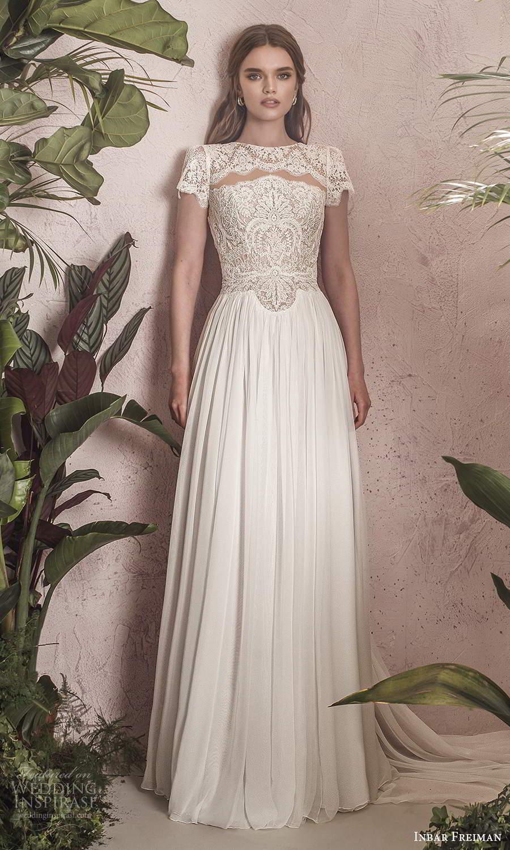 inbar freiman 2021 bridal short sleeves jewel neckline embellished lace bodice a line wedding dress chapel train (5) mv