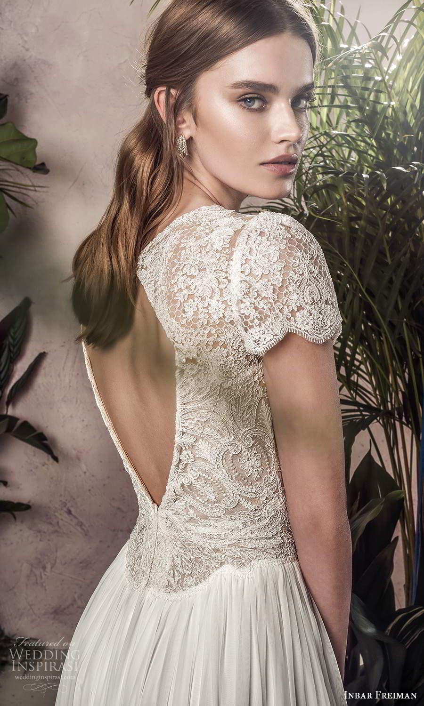 inbar freiman 2021 bridal short sleeves jewel neckline embellished lace bodice a line wedding dress chapel train (5) zbv