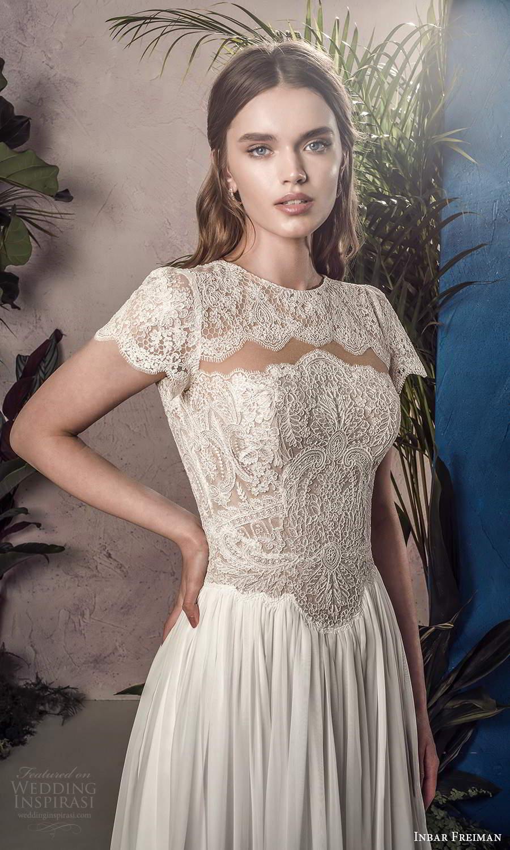 inbar freiman 2021 bridal short sleeves jewel neckline embellished lace bodice a line wedding dress chapel train (5) zv
