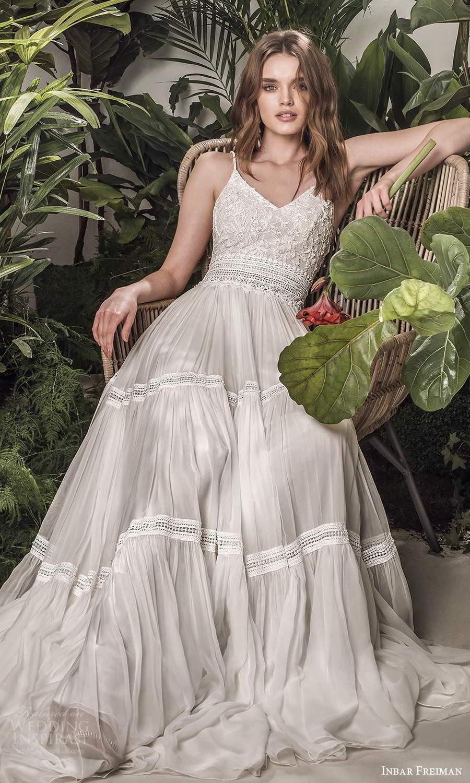 inbar freiman 2021 bridal sleeveless spaghetti straps v neckline embellished lace bodice pleated skirt a line wedding dress sweep train (8) fv