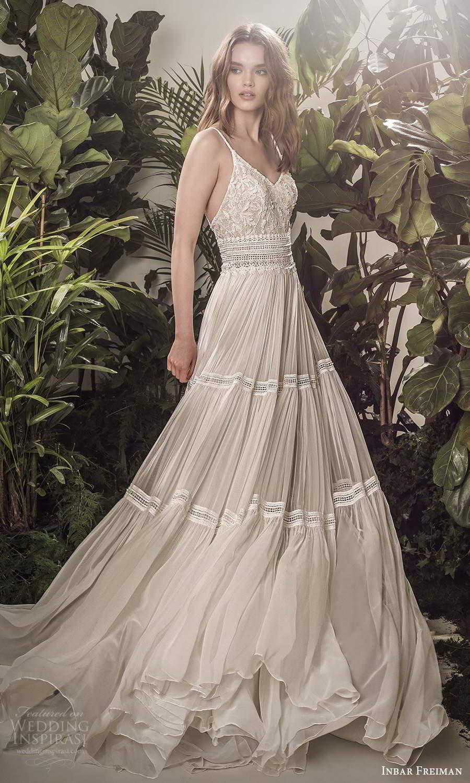 inbar freiman 2021 bridal sleeveless spaghetti straps v neckline embellished lace bodice pleated skirt a line wedding dress sweep train (8) mv