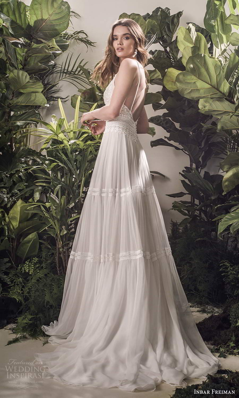 inbar freiman 2021 bridal sleeveless spaghetti straps v neckline embellished lace bodice pleated skirt a line wedding dress sweep train (8) sv