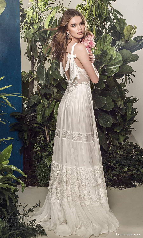 inbar freiman 2021 bridal sleeveless straps v neckline embellished lace bodice pleated skirt boho a line wedding dress scoop back sweep train (10) bv